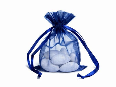 Navy Organza Bags (Set of 10)