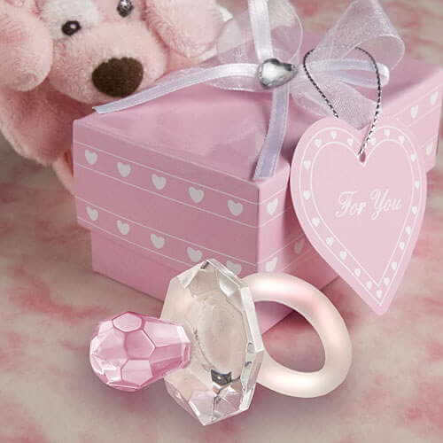 Crystal Pink Pacifier / Dummy Baby Favours