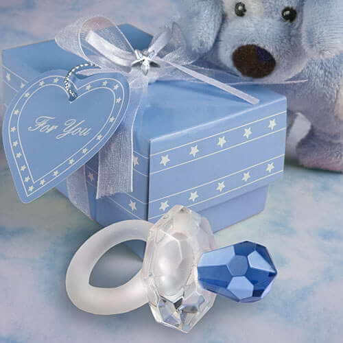 Crystal Blue Pacifier / Dummy Baby Favours In Beautiful Blue Box