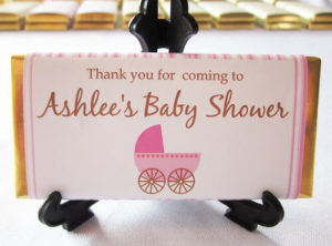 Personalised Chocolate Bar Favours - Pink Pram Design