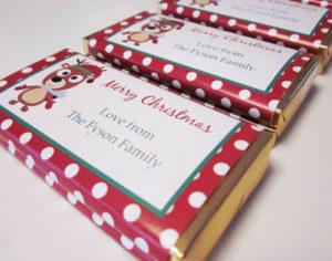 Personalised Christmas Chocolate Bars -  Rudolf Design