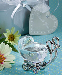 Crystal Baby Carriage Favours / Bomboniere In Beautiful Silver Box