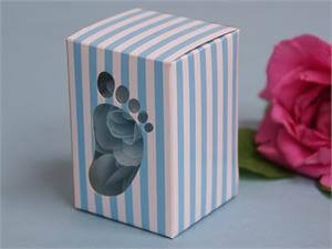 """Baby Foot"" Clear window Favour Box - Blue"