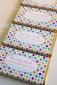 Personalised Chocolate Bar Favours - Polka Dot Design