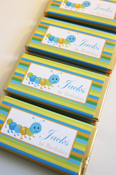 Personalised Chocolate Bar Favours - Caterpillar Design