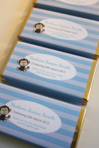 Personalised Chocolate Bar Favours - Blue Monkey Design