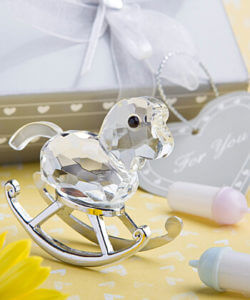 Crystal Rocking Horse Favours / Bomboniere In Beautiful Silver Box