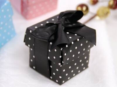 Black Polka Dot Favour Boxes with Lids (Set of 10)