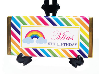 Personalised Chocolate Bar Favours - Rainbow Design