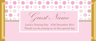 Personalised Chocolate Bar Favours - Pink & Brown Polka Dots Design