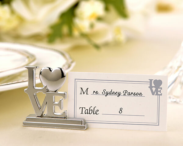 """Silver """"Love"""" Place Card Holder Favours and Placecards"""