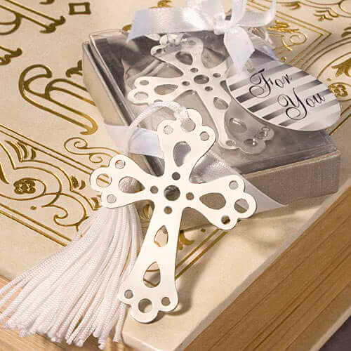 Silver Cross Bookmark with Tassel Bomboniere In Beautiful Silver Packaging