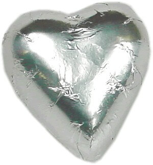 Silver Milk Chocolate Heart Bomboniere (100 peices)