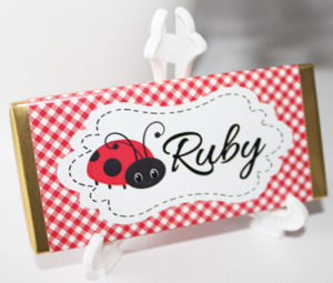 Personalised Chocolate Bar Favours - Red Lady Bug Design