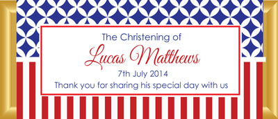 Personalised Chocolate Bar Favours - Red & Blue Stars & Stripes Design
