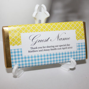 Personalised Chocolate Bar Favours - Sweet Yellow & Blue Design