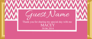 Personalised Chocolate Bar Favours - Pink Chevron Design