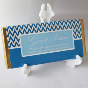 Personalised Chocolate Bar Favours - Blue Chevron Design