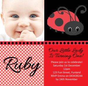 Personalised Photo Invitation - Ladybug Design
