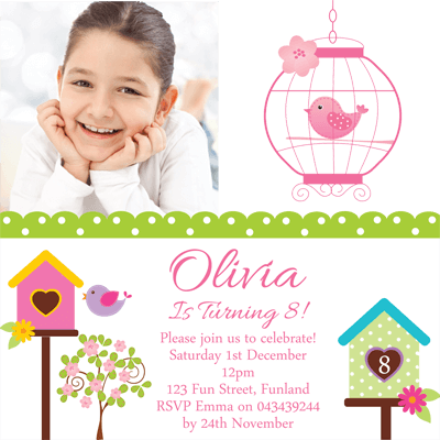Personalised Photo Invitation - Oh So Tweet