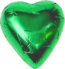 Green Milk Chocolate Heart Bomboniere (100 peices)