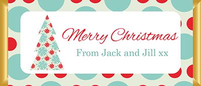 Personalised Christmas Chocolate Bars - Aqua & Red Christmas Tree Design