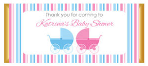 Personalised Chocolate Bar Favours - Pink & Blue Pram Design