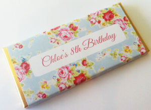 Personalised Chocolate Bar Favours - Vintage Florals