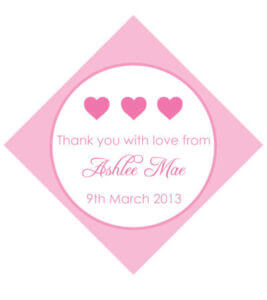 Set of 50 Personalised Gift Tags - Pink Hearts Design