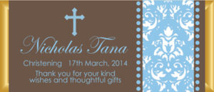Personalised Chocolate Bar Favours - Chocolate Brown and Blue Design