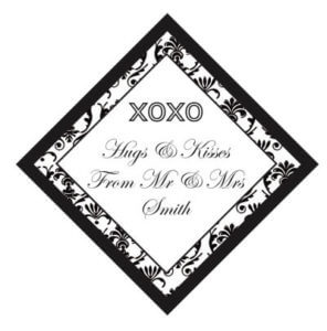 Set of 50 Personalised Gift Tags - Damask Hugs & Kisses Design