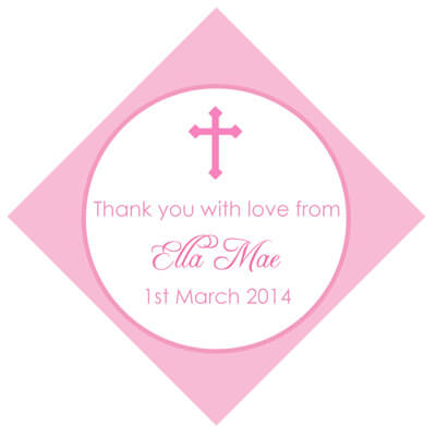 Set of 50 Personalised Gift Tags - Pink Cross Design