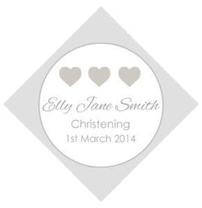 Set of 50 Personalised Gift Tags - Silver Hearts Design