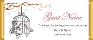Personalised Chocolate Bar Favours -  Birdcage Design
