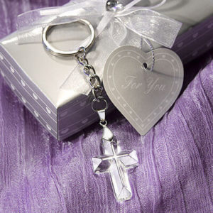 Crystal Cross Keyring Favours / Bomboniere In Beautiful Silver Box