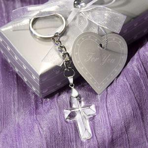 Crystal Cross Keyring Favours / Bomboniere In Beautiful Silver Box