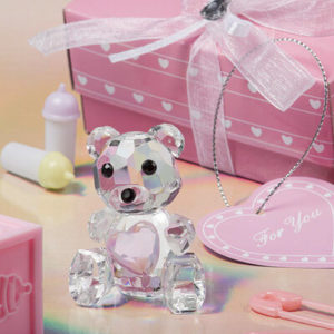 Crystal Pink Teddy Bear Favours / Bomboniere In Beautiful Pink Box