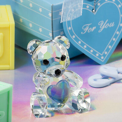 Crystal Blue Teddy Bear Favours / Bomboniere In Beautiful Blue Box