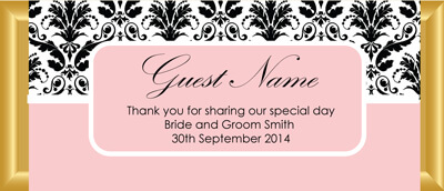 Personalised Chocolate Bar Favours - Pink and Black Damask Design
