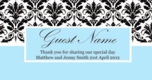 Personalised Chocolate Bar Favours - Blue and Black Damask Design