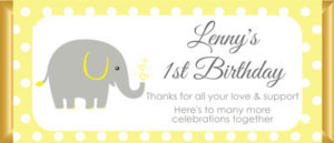 Personalised Chocolate Bar Favours - Yellow and Grey Elephant Design