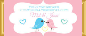 Personalised Chocolate Bar Favours - Pastel Love Birds - Pink