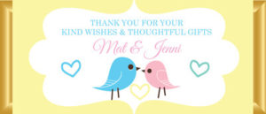 Personalised Chocolate Bar Favours - Pastel Love Birds - Lemon
