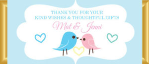 Personalised Chocolate Bar Favours - Pastel Love Birds - Blue