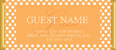 Personalised Chocolate Bar Favours - Orange Polka Dot Design