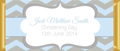 Personalised Chocolate Bar Favours - Blue and Grey Chevron Design