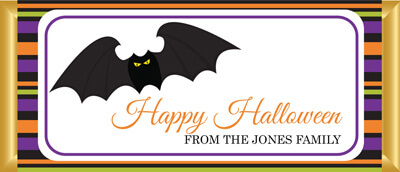 Personalised Chocolate Bar Favours - Halloween Bat Design