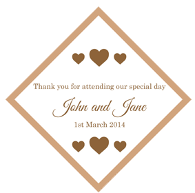 Set of 50 Personalised Gift Tags - Brown Heart Design
