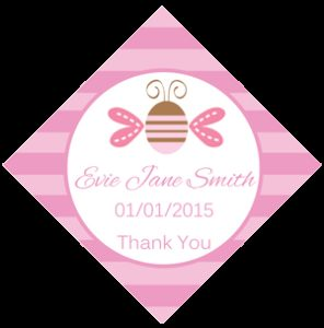 Set of 50 Personalised Gift Tags - Pink Bug Design