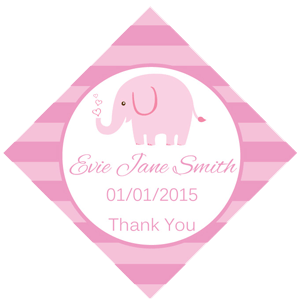 Set of 50 Personalised Gift Tags - Pink Elephant Design